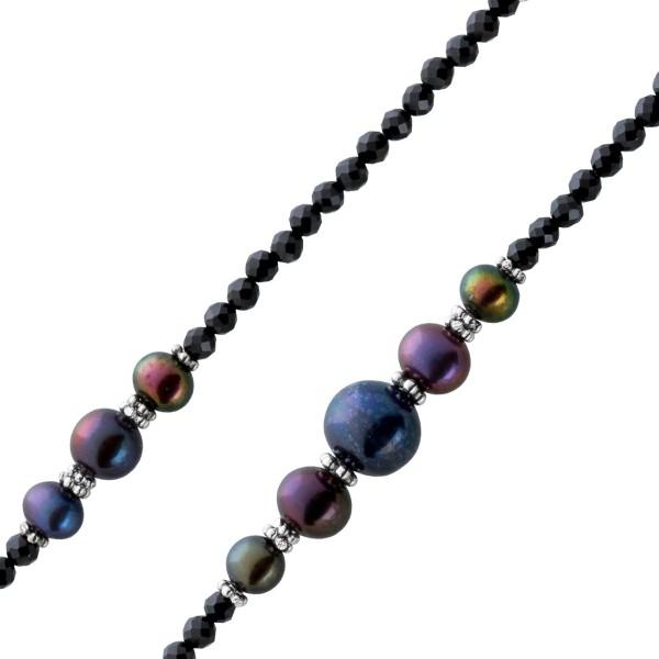 Perlen Halskette schwarzer Spinell graue...