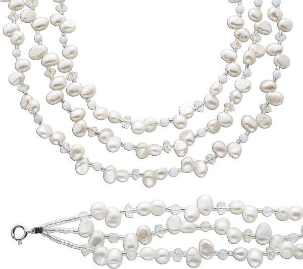 Perlenkette Perlenarmband Set Perlen weiß Kette Armband Silber 925 Kristalle