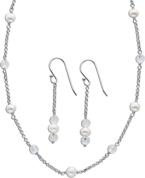 Schmuck Set Kette Ohrringe Perlen Silber...