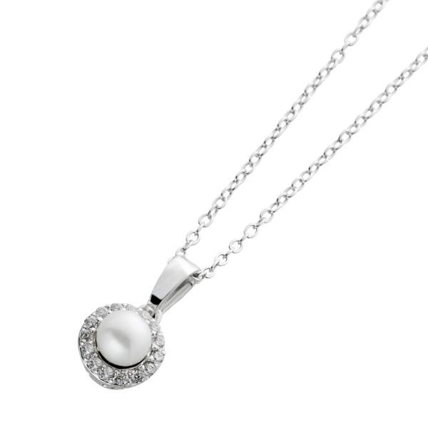 Perlen Zirkonia Halskette Silber 925 Ank...
