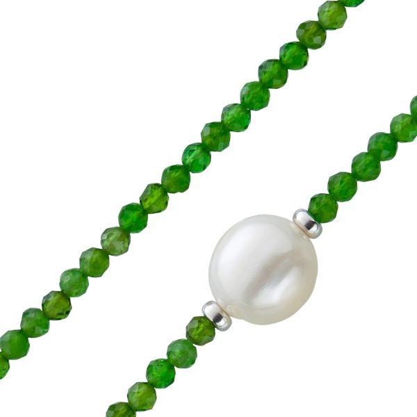 Facettierte grüne Chromdiopsid Edelstein Kette Collier Süsswasserperle 10mm Silber Federringverschluss 925 38+7cm