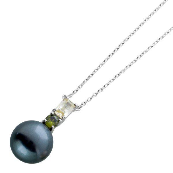 Perlen Anhänger Kette Silber 925/- graue Muschelkernperle 10mm gelb grüne Zirkonia 40+5cm