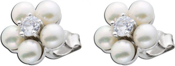 Silber Ohrstecker Perlen Ohrringe Blumeo...