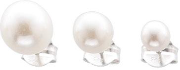 Ohrringe – Stuttgarts feine Juweliersqualität.  Ohrsteckerset bestehend aus 3 Paar.  Echtes Silber Sterlingsilber 925/- mit  wunderschön schimmernden synthetischen weißen Perlen (Durchmesser ca. 5,0, 7,0 und 8,5mm). Ein Preiskracher exklusiv aus dem Hause