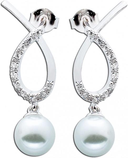 Damen Silber Ohrstecker Ohrringe Perlen ...