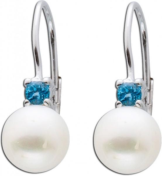 Ohrringe – Ohrhänger 925 Sterling Silber Süßwasserzuchtperlen Blautopase