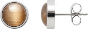 Ohrringe – Leonardo  Ohrstecker braun Joy   Modell Nr. 013972  Schlichte, klassische runde Ohrstecker (Ø 8mm) mit Cateyperlen in braun, die zu jedem Outfit passen und auch zu vielen Ketten und Armbändern aus der Herbst- Winterkollektion getragen werden