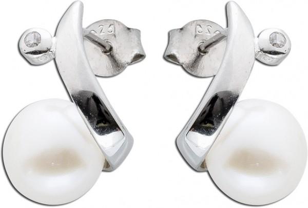 Perlen Ohrringe Ohrstecker Silber 925 Zi...