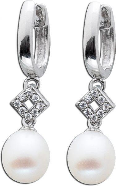 Ohrringe – Ohrhänger Sterling Silber 925 poliert Süßwasserzuchtperle Zirkonia