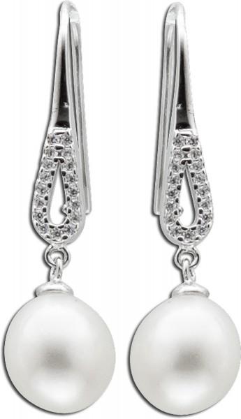 Damen Ohrringe Ohrhaenger Perlen Silber ...