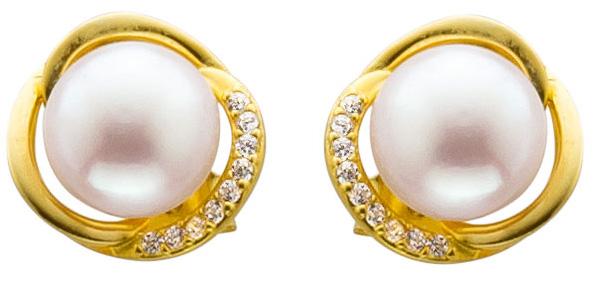 Ohrringe – Ohrstecker – Ohrschmuck Sterling Silber 925/- gelb vergoldet mit Süßwasserzuchtperle und Zirkonia