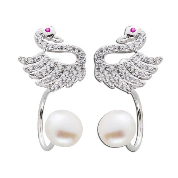 Perlen Ohrringe Silber 925 Ohrstecker Ear Jacket Schwan weiß rot Zirkonia