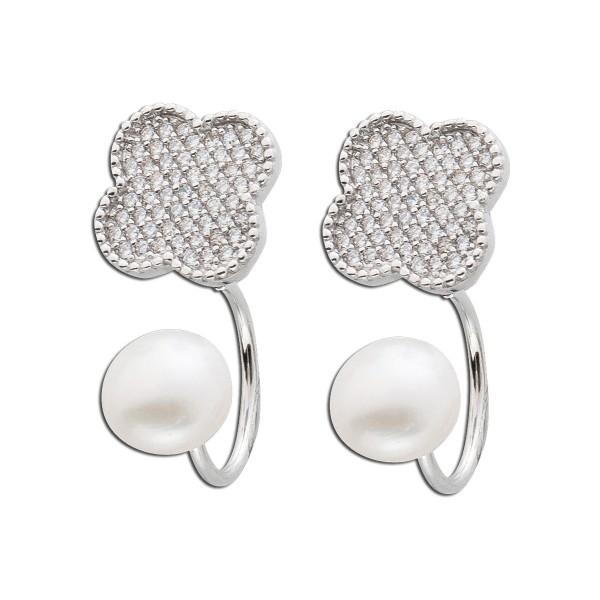 Perlen Ohrringe Ohrstecker Blume Ear Jac...