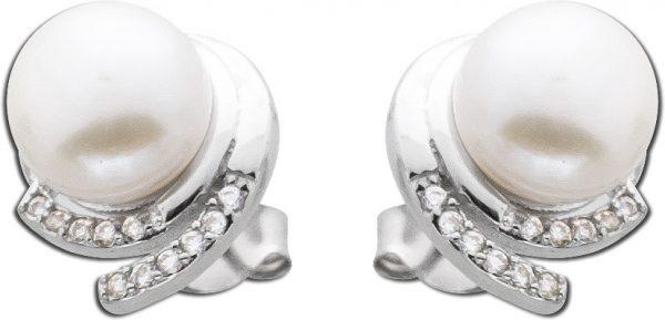 Zirkonioa Perlen Ohrringe Ohrstecker Silber Damen Silber 925 rhodiniert weisse Süßwasserzuchtperle klare weisse Zirkonia