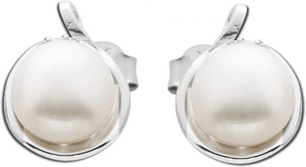Ohrringe Ohrstecker Sterling Silber 925 rhodiniert Süßwasserzuchtperle Zirkonia