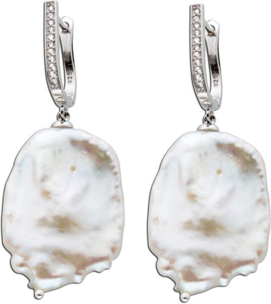 Barockperlen Ohrringe Ohrhänger Damen Perlen Silber 925 weisse Barocke Süßwasserzuchtperle klare weisse Zirkonia