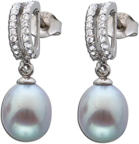 Damen Silber Perlen Ohrringe Ohrstecker ...