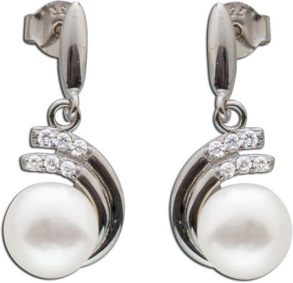 Ohrringe Ohrstecker Sterling Silber 925 Süßwasserzuchtperlen 12 Zirkonia
