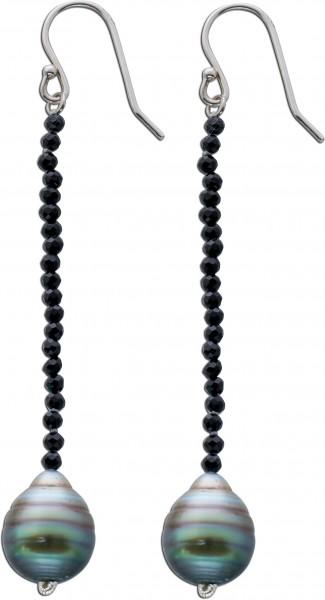 Ohrringe Ohrhänger Sterling Silber 925 Tahitiperlen mit schwarzem Spinell