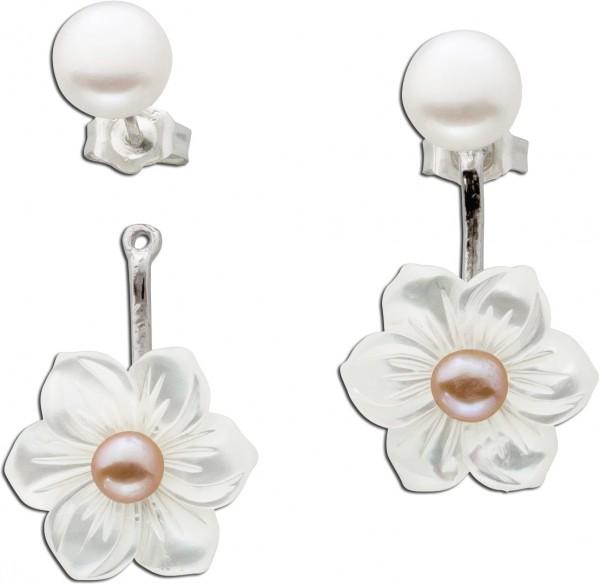 Ear Jackets Perlenohrstecker Ohrringe Silber Damen Süsswasserzuchtperle Perlmutt Blume Silber 925