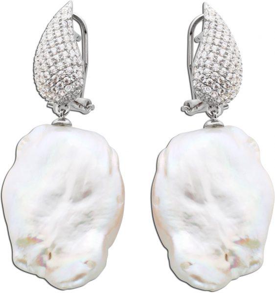 Perlen-Ohrhänger Ohrringe Damen Silber 925 Brisur weisse Suesswasserzuchtperle Barockform klare weisse Zirkonia