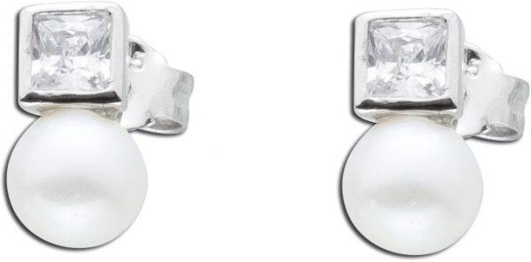 Perlen Ohrringe Silber 925 Ohrstecker weiß Zirkonia