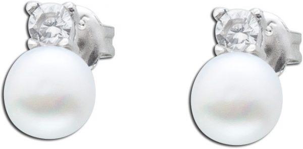 Perlen Ohrstecker Silber 925 Ohrringe weiß Zirkonia