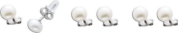 Perlenohrstecker Set 6-teilig Süsswasserzuchtperlen 6,5mm Button Perlen Sterling Silber 925