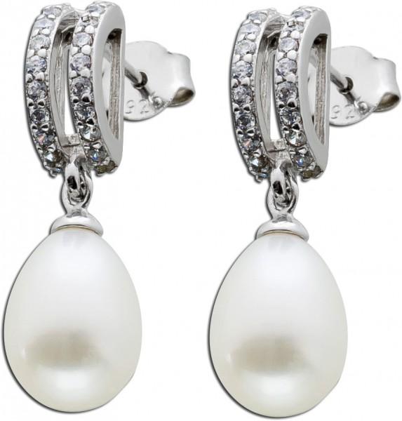 Perlen Ohrringe Ohrstecker Silber 925 we...
