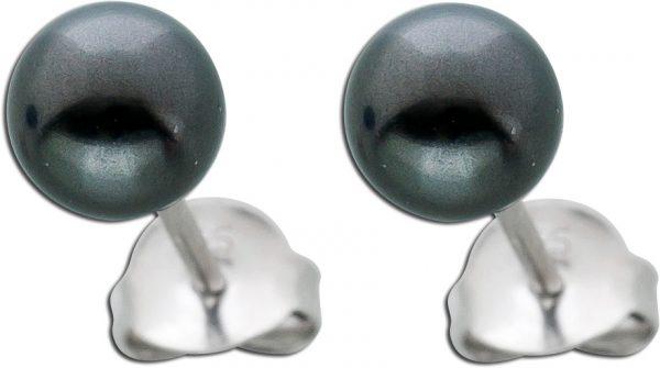 Perlen Ohrstecker Silber 925 dunkelgraue Kristallperlen 6mm