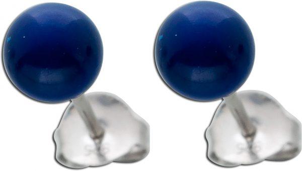 Ohrstecker Ohrringe Silber 925 Lapislazuli farbene Kristallperlen 6mm