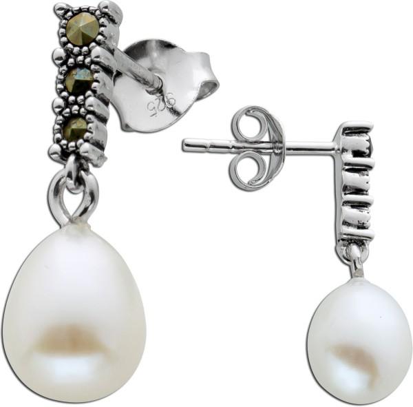 Bewegliche Ohrringe weißen Süßwasserzuchtperlen Silber 925 Markasit Steinen
