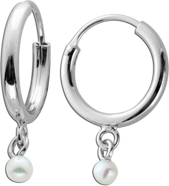 Creolen beweglichen weißen Süßwasserperlen Silber 925 Ohrschmuck