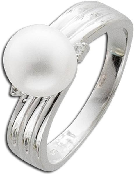 Perlenring Silber 925 weißer Süßwasse...