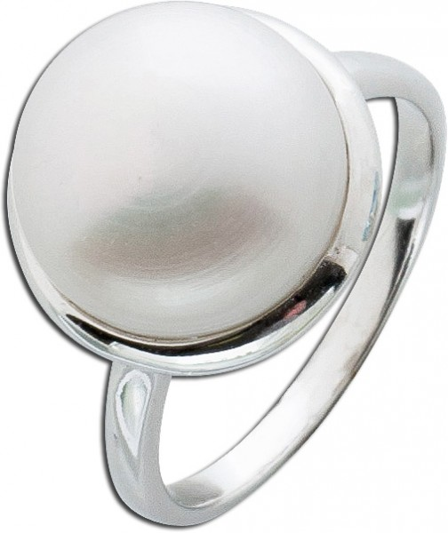Perlenring Süßwasserzuchtperle cremefarben Silber 925