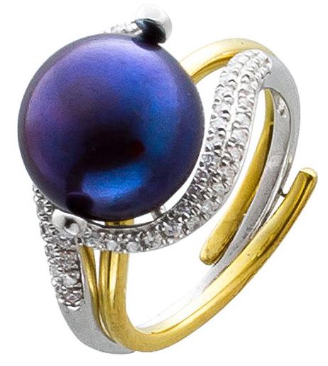 Ring Set Silberring Sterling Silber 925  teils vergoldet Süßwasserzuchtperle