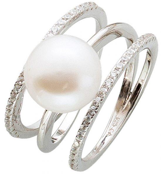 Offener Perlenring weißer Süßwasserzuchtperle Silber 925 Zirkonia