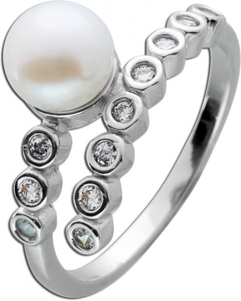 Perlenring weiße Süßwasserzuchtperle Silber 925 Zirkonia
