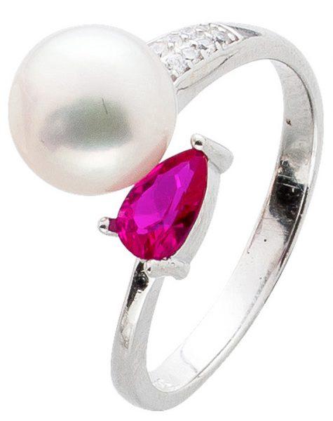 Ring Silber 925 offen Perle weiß pink Zirkonia