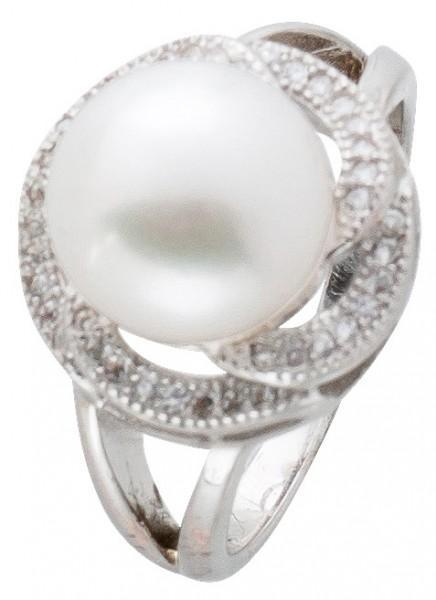 Ring Damen Silber 925 Perle weiß Zirkonia