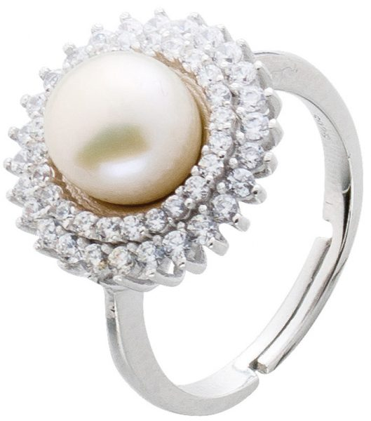 Ring Perle Silber 925 Damenring Süßwas...