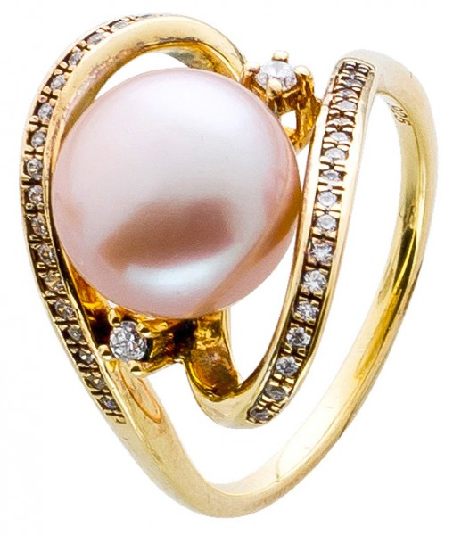 Ring Sterling Silber gelbvergoldet mit S...