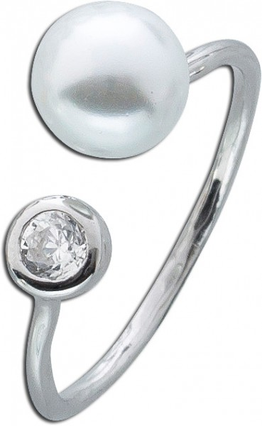 Perlen Ring offen Silber 925 weiß Zirkonia