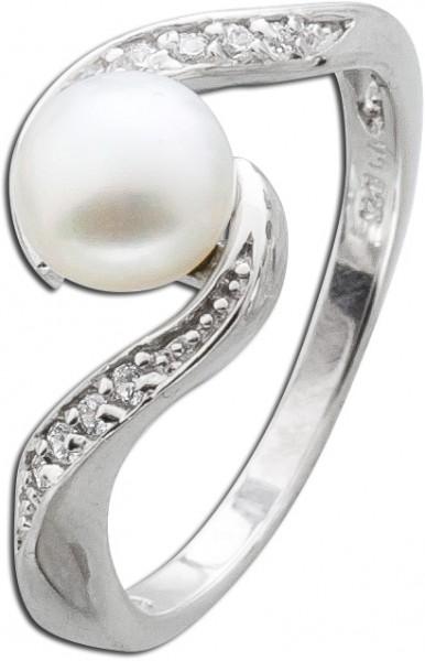 Silber Perlenring weißer Süsswasserzuchtperle Silber 925 Zirkonia