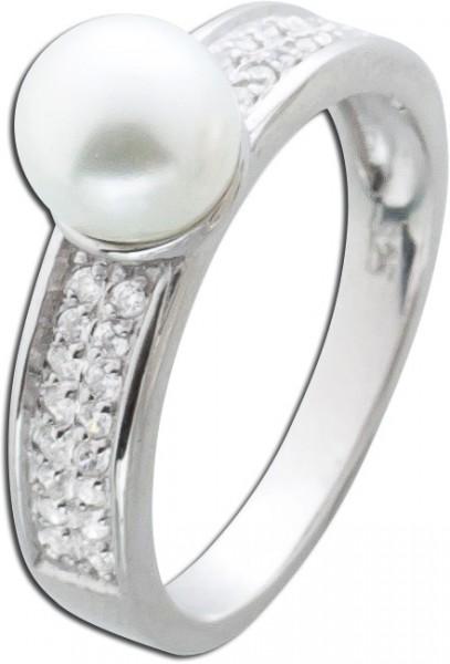 Silberring Perlen Ring Silber 925 Zirkonia