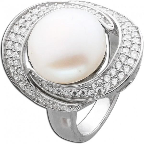 Perlenring Silber 925 Zirkonia cremefarbener Perle synthetisch Damenring