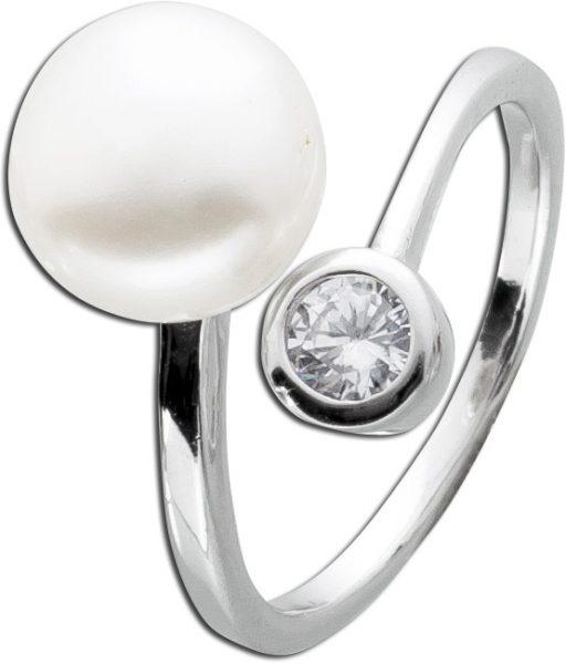 Perlenring weiss Silber 925 Süsswasserzuchtperle echt endlos Unendlichkeit