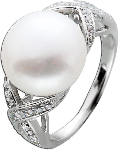 Geflochtener Ring Süßwasserzuchtperle weiß Silber 925 Zirkoniaschmuck
