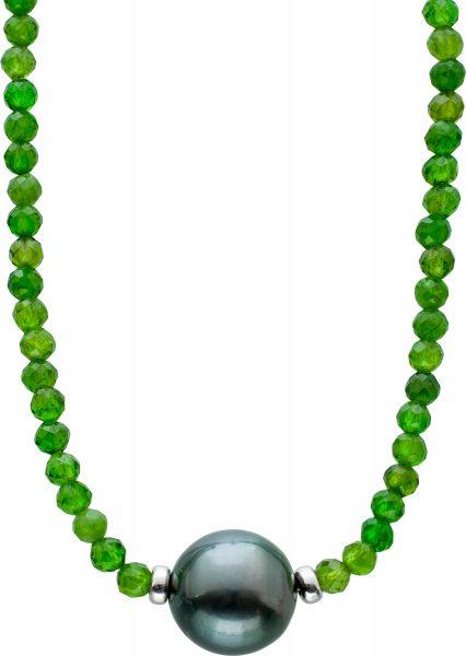 Facettierte Grüne Chromdiopsid Edelstein Kette Collier Tahitiperle 10mm Silber Federringverschluss 925 38+7cm
