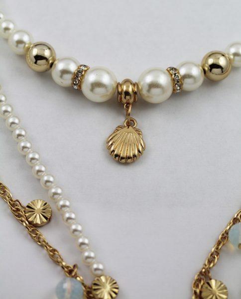 Perlen Modekette Metall vergoldet synth. Perlen Muschel 3-reihig Layering 48-108cm+5cm